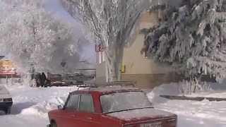 Токмак, зима декабрь 2008 г. Запорожская область(Поездка по снежному городу., 2015-10-01T13:23:51.000Z)