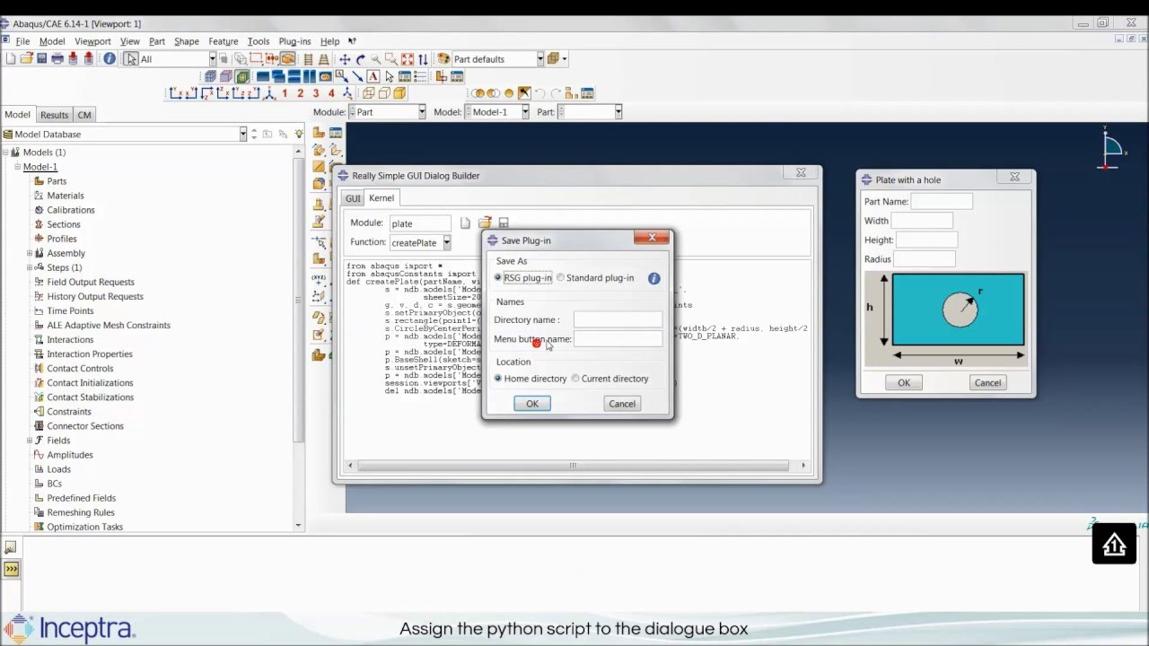 Abaqus/CAE customization using Abaqus-Python and RSG
