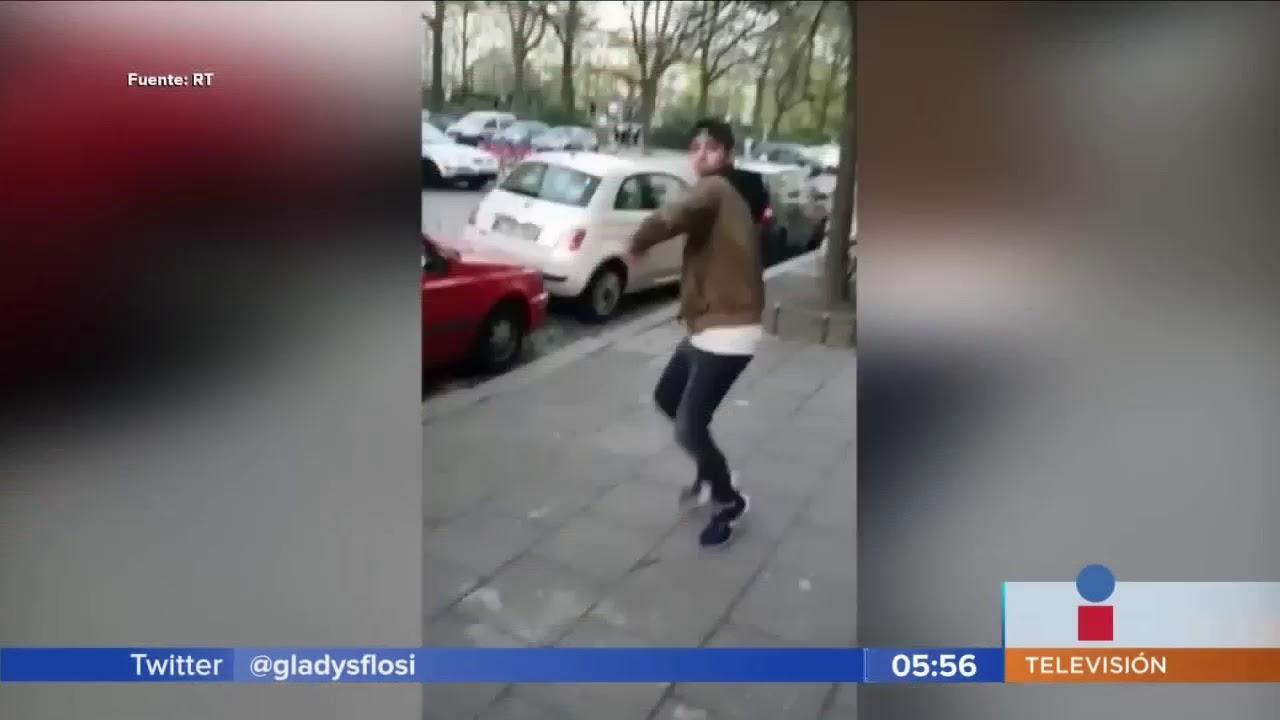 Arabe en Alemania doma a dos judios en la calle