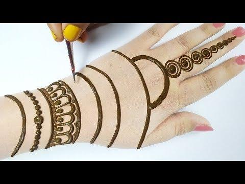 लाइन से मेहँदी लगाने की नई ट्रिक  - New Trick Mehndi Design for Hands - Mehndi for Beginners