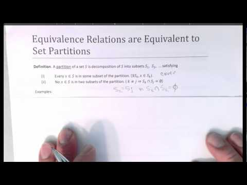 Equivalence Relations & Set Partitions, Part One