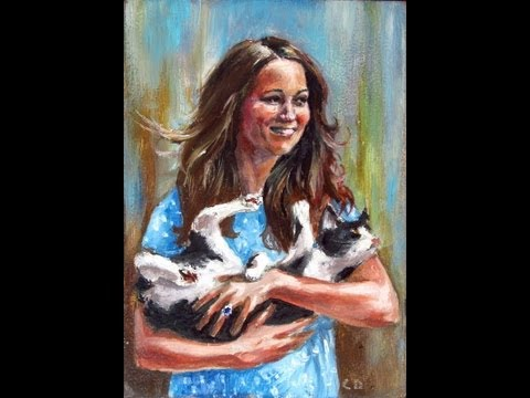 Kate Middleton baby cat funny portrait art painting techniques oil painting speed painting