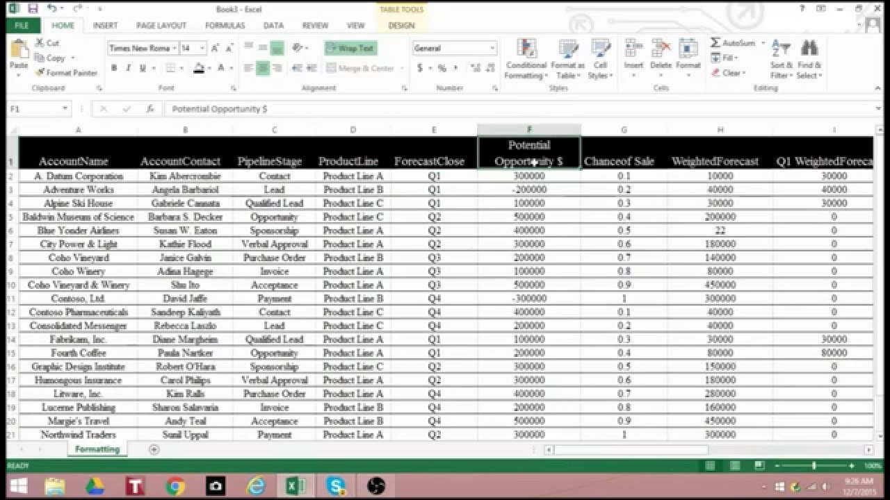 How to Format your Excel Spreadsheet the Professional Way - YouTube