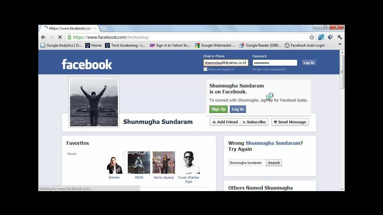 Automatically Login to Facebook using Bookmarklet