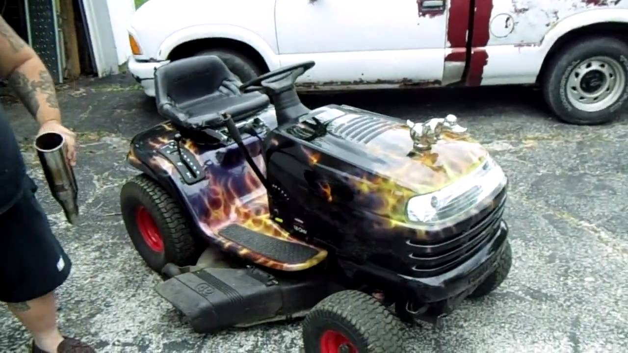Hot Rod Lawn Tractor With Real Flames And A Little Wheelie
