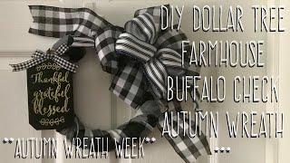 **Autumn Wreath Week** DIY Dollar Tree  Farmhouse  Buffalo Check Autumn Wreath