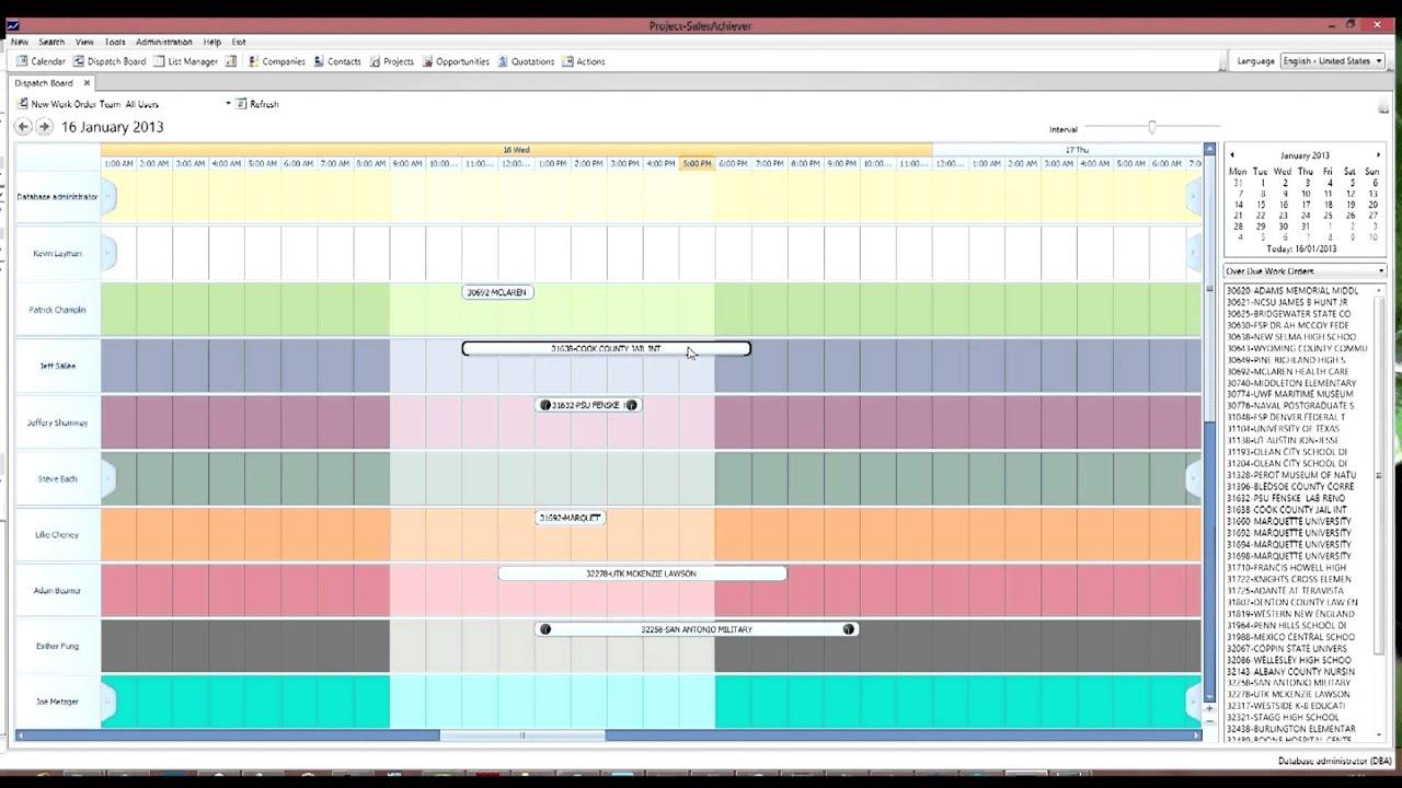 Dispatch Board Service Module Project Salesachiever Crm