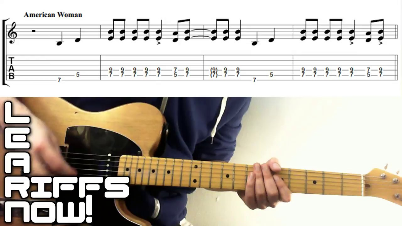 American Woman Guess Who Guitar Lesson Intro Riff Tab Youtube