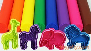Learn Colors with Play Doh Animal Molds Elephant Lion Giraffe Zebra Baby Nursery Rhymes for Kids
