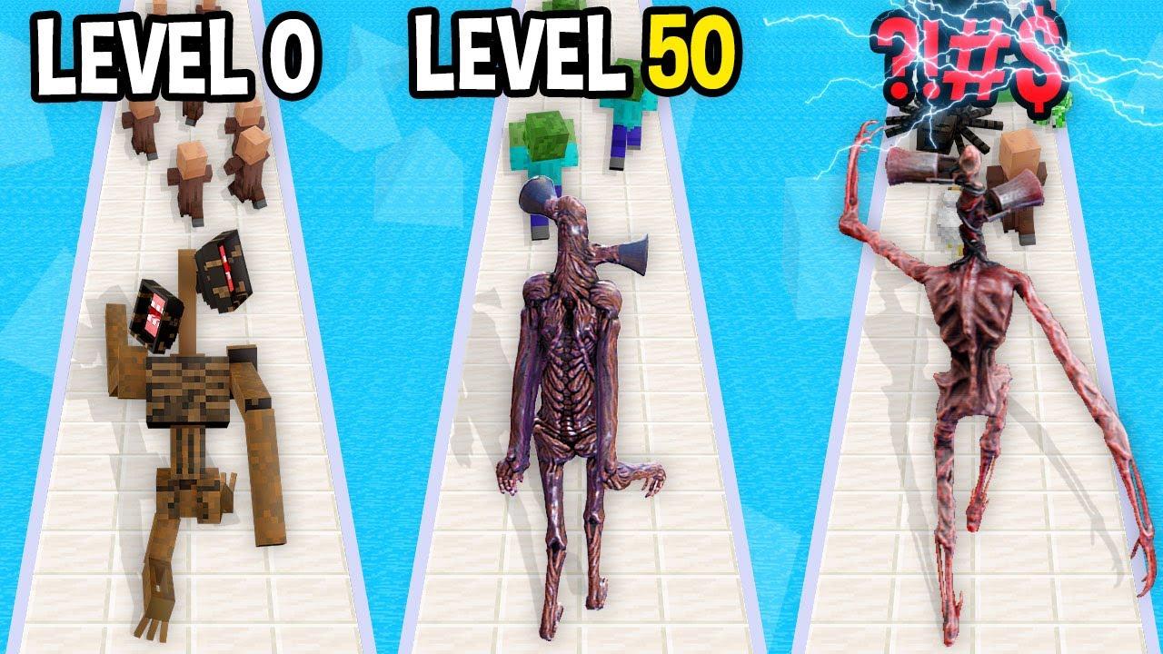 Monster School: Siren Head Run GamePlay Mobile Game Max Level Noob Pro Hacker - Minecraft Animation