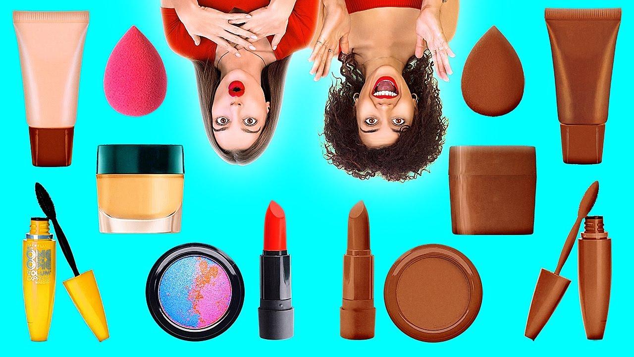 Download CZEKOLADOWE JEDZENIE VS NORMALNE RZECZY || Czekoladowe przepisy na makijaż od 123 Go Like!