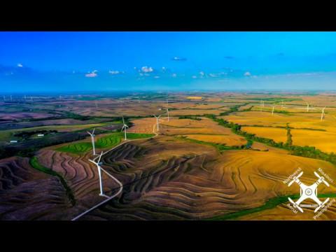 Drone view of Northwest Missouri wind turbine farm near Tarkio - May 2017 - NWMOAP