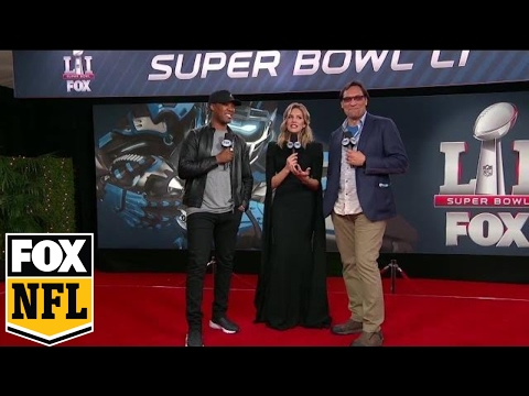 Charissa Thompson with Corey Hawkins and Jimmy Smits on Red Carpet | SUPER BOWL LI