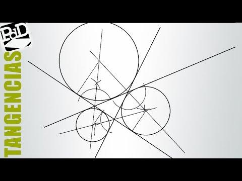 Circunferencias tangentes a tres rectas que se cruzan formando un triángulo.