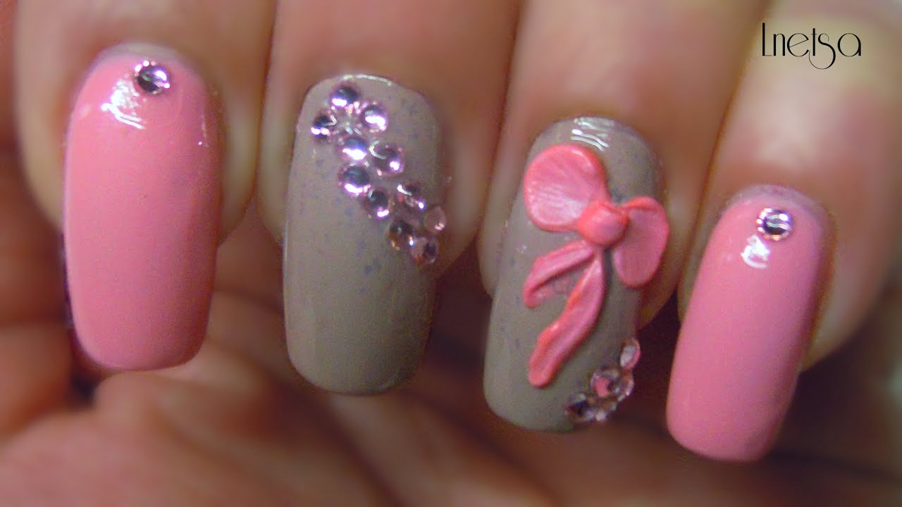 Easy 3d bow nailart youtube prinsesfo Gallery