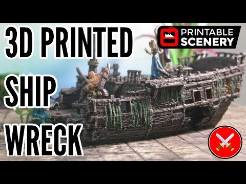 3D Printed Ship Wreck by Printable Scenery (Kickstarter
