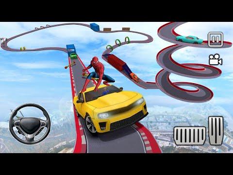 Spiderman Cars Stunts Mega Rampa Challenge! Superhero Hulk Iron Man Goku Racing - Android Gameplay