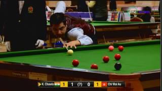 الشوط الثالث من مباراة كمال شاولا من الهند وتشي واي اوو من هونج كونج في بطولة العالم للسنوكر 2017