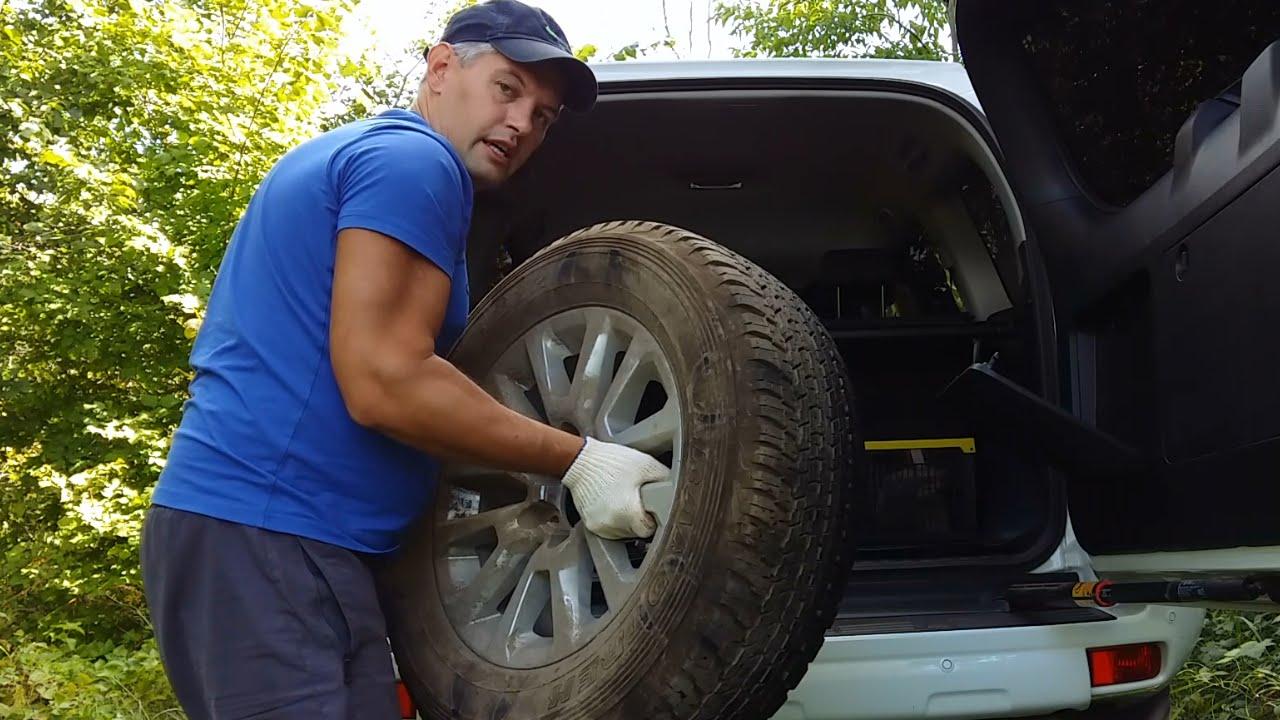 Как снять запаску на Toyota Prado 150