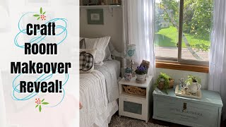Home Tour: Shared Spaces Craft Room/Bedroom Makeover! Vintage Cottage/Farmhouse Thrift Decor