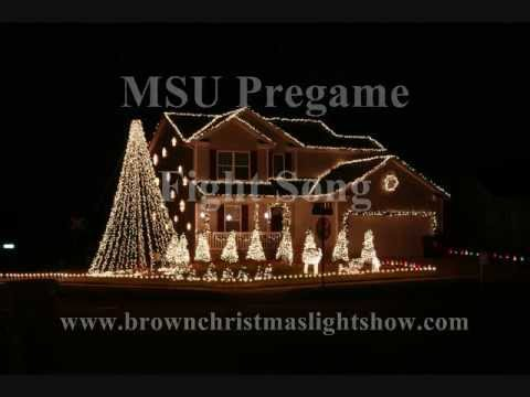 2011 Brown Christmas Light Show - MSU Pregame Fight Song - GO GREEN!