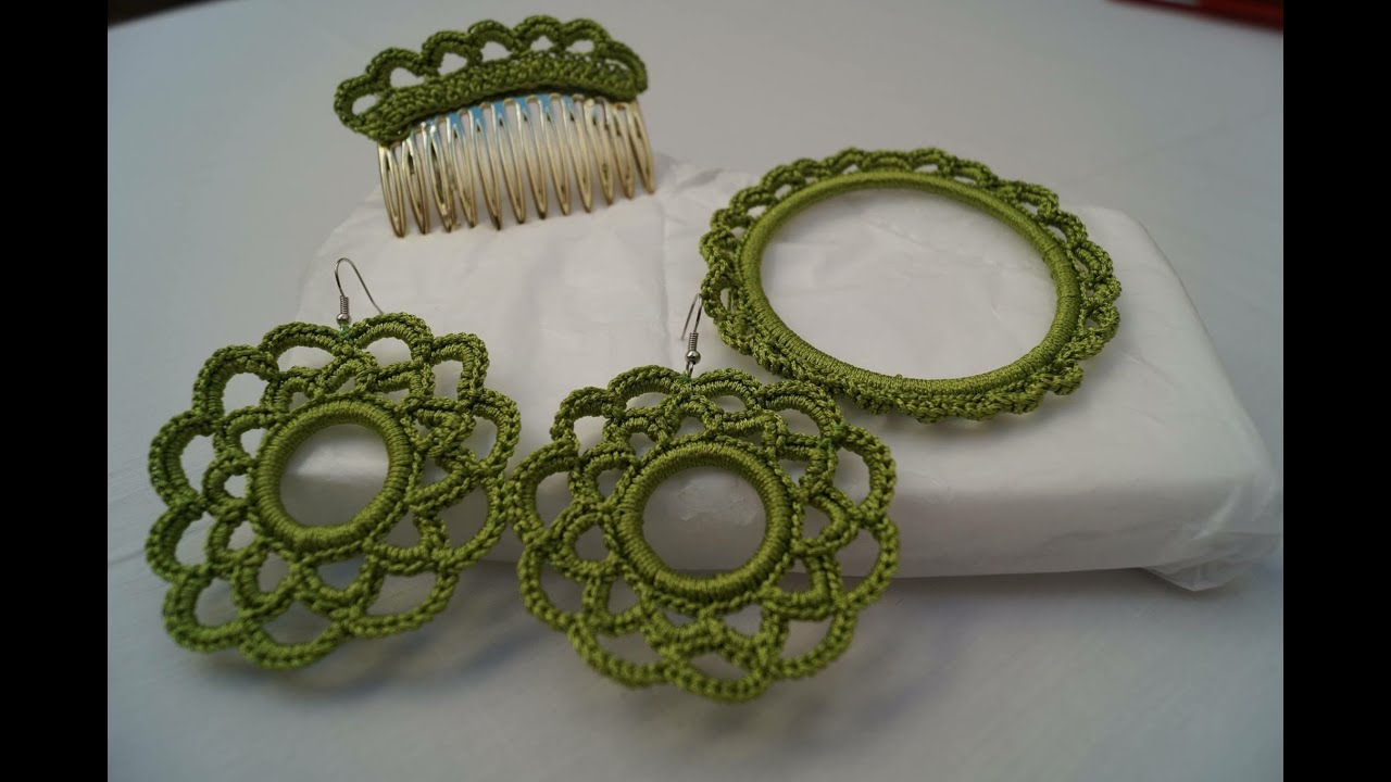 Pendientes de flamenca en crochet - YouTube