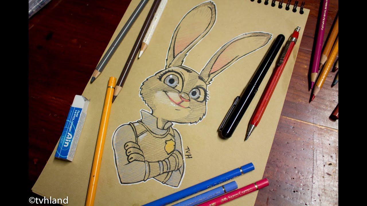Comment Dessiner Judy Hopps Au Papier Kraft Zootopie Youtube