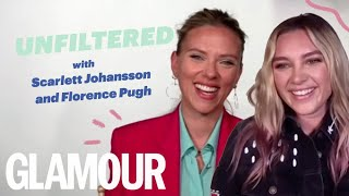 Scarlett Johansson & Florence Pugh On Filming Black Widow & Their Friendship   GLAMOUR Unfiltered