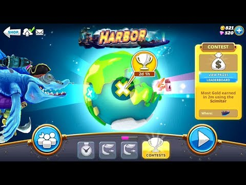 Collect Gold in 2m in the Harbor Special Map (Scimitar) Contest - Hungry Shark World