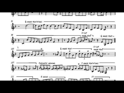 "Transription of John Coltrane's solo on ""Pursuance"" on trumpet by Charlie Porter"