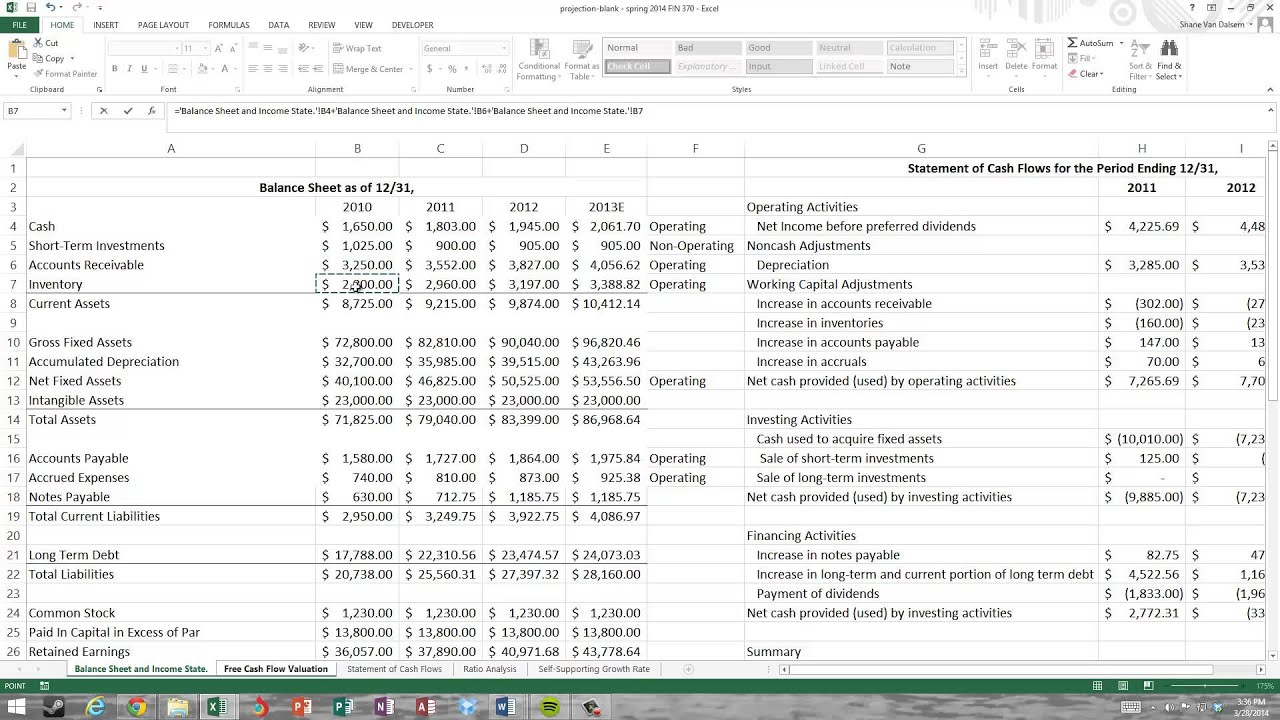 free cash flow calculation and valuation