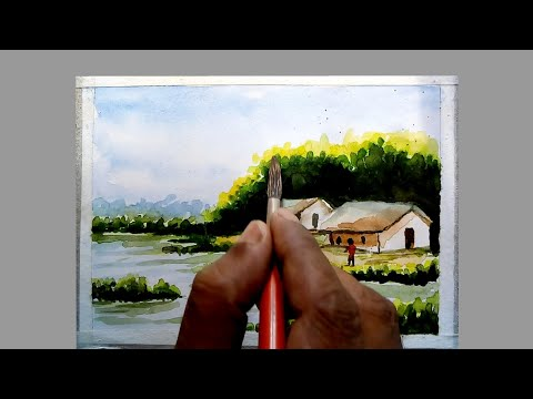 landscape painting#how to draw a landscape painting with water colour/step by step for beginners/art