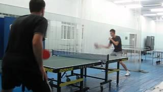 Настольный теннис топ спин справа по подставке слева TT