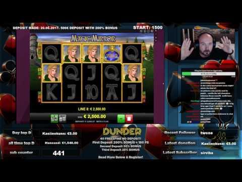 Magic Mirror Slot Gives Super Big Line Hit Win At Dunder Casino!!