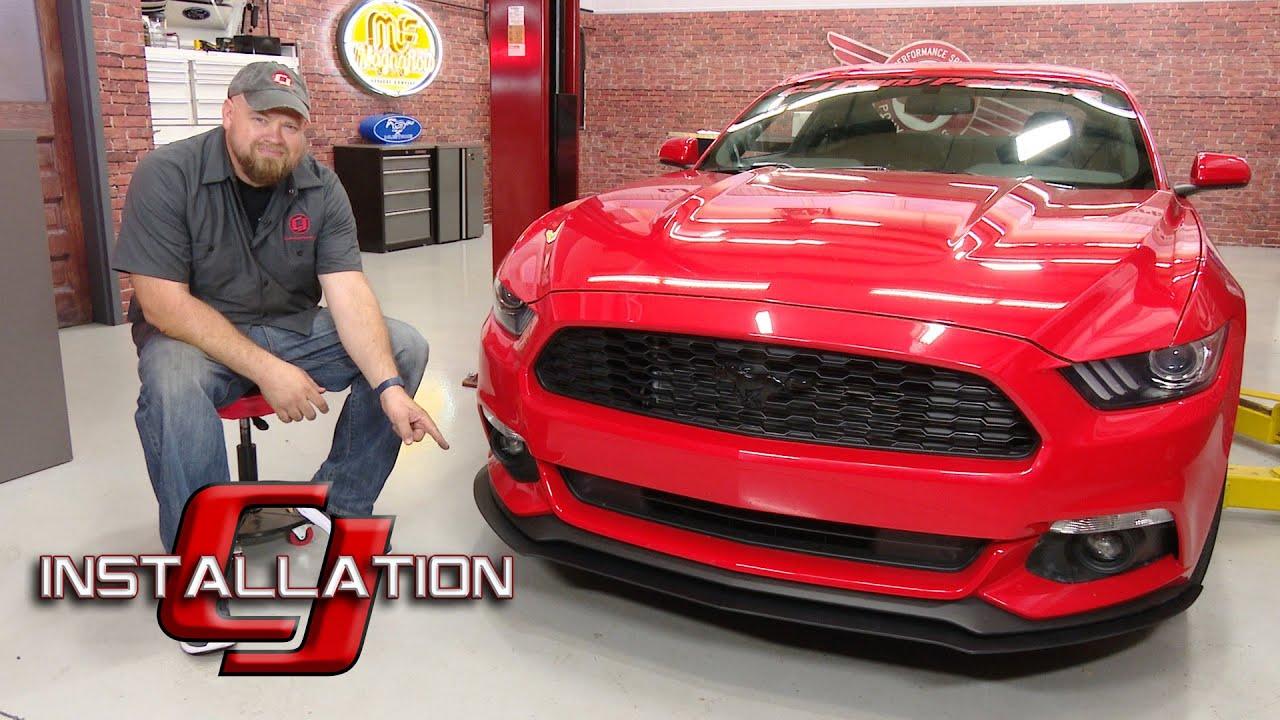 2015-2017 Mustang V6/EcoBoost/Base GT CPC Front Splitter Textured Matte  Black Installation