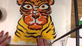 Art for Kids: Tiger in Symmetry Part 2