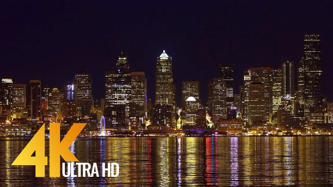 Night Seattle from Alki Trail - 4K (Ultra HD) Seattle Cityscapes - Trailer