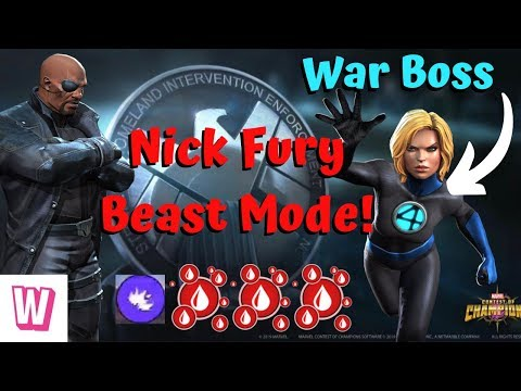 Nick Fury vs Invisible Woman War Boss! Sick Fight! - Marvel Contest of Champions