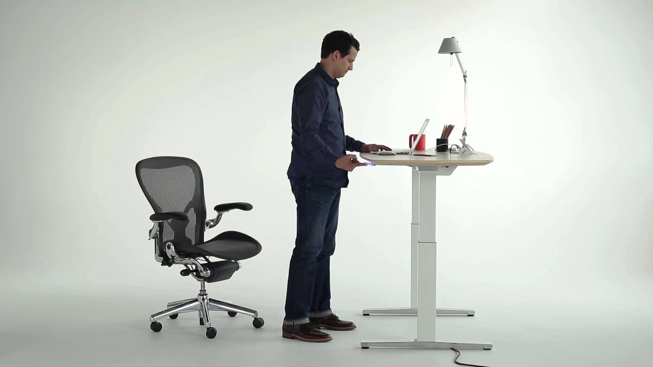 Renew™ Sit To Stand Desk   YouTube