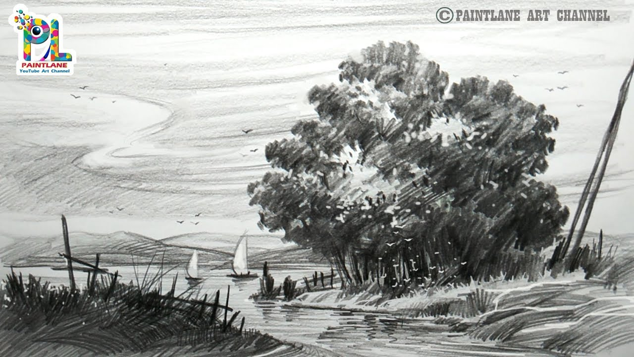 Learn A Landscape Drawing With Very Easy Practice Pencil ...