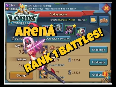 Lords Mobile: Colosseum Arena Rank 1 Battles