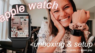 apple watch unboxing + setup | 38mm, series 3, GPS, space gray