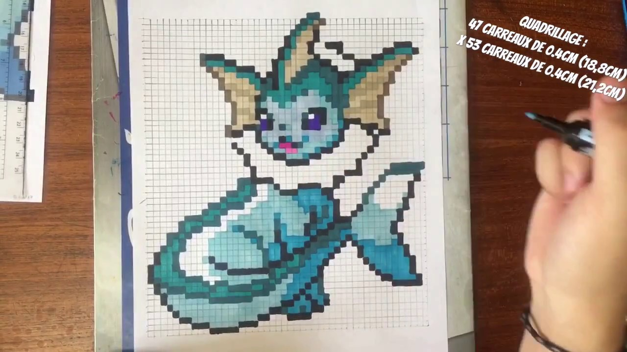 Tuto I Comment Dessiner Aquali How To Draw Vaporeon Pixelart