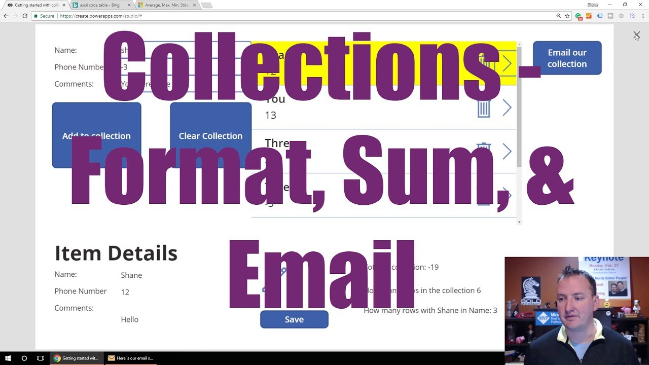 PowerApps Collection - Send emails, sum, and format