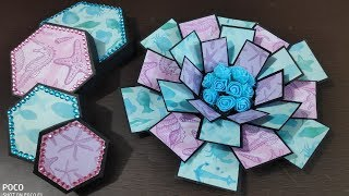 how to make explosion box\handmade explosion box tutorial\diy hexagon explosion box