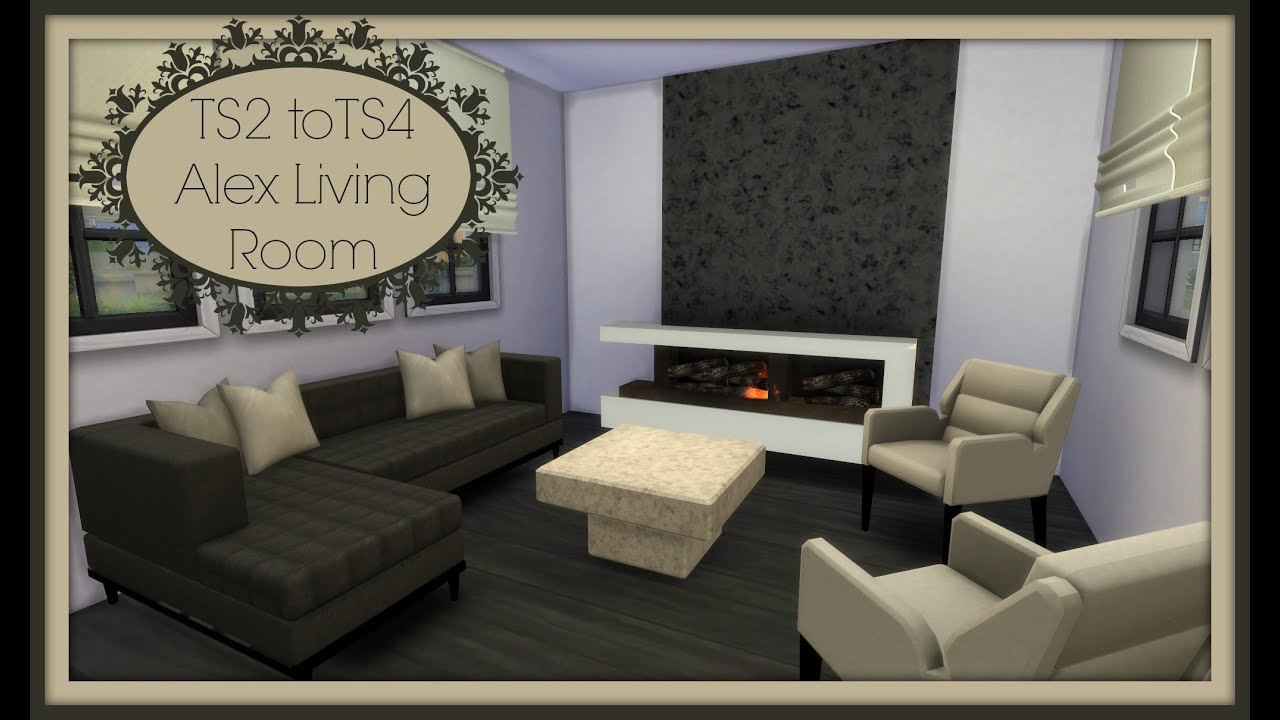 Sims 4 ts2 to ts4 alex living room youtube for Living room designs sims 4