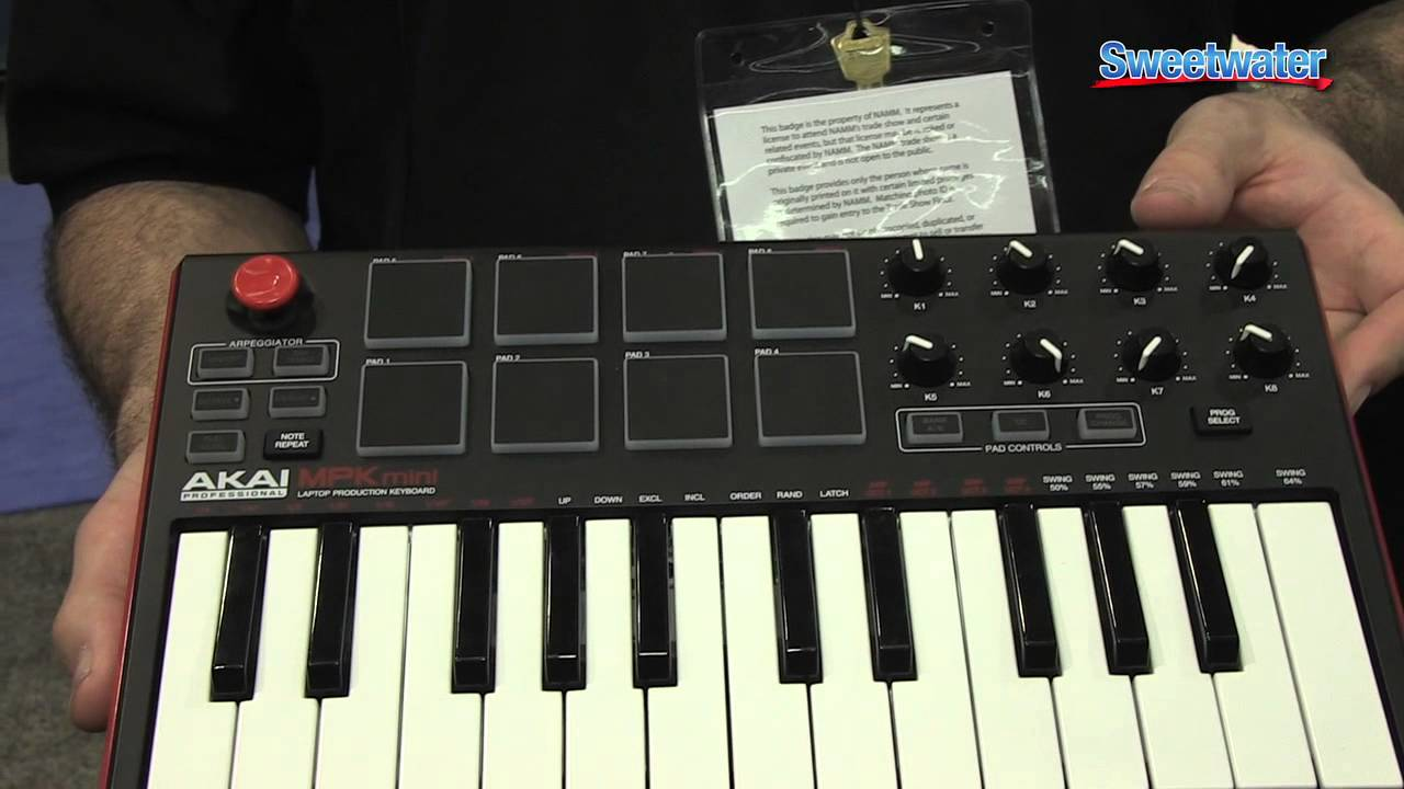 akai mpk mini mk2 usb keyboard controller overview sweetwater at winter namm 2014 youtube. Black Bedroom Furniture Sets. Home Design Ideas