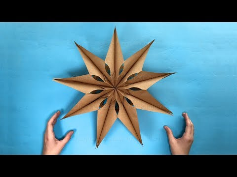 How to make an easy Paper Star with paper bags - Christmas crafts: 3D Paper Stars for christmas
