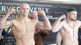PAUL DRAGO v ARTHUR MANN - OFFICIAL WEIGH IN & HEAD TO HEAD / CLEVERLY v BRAEHMER