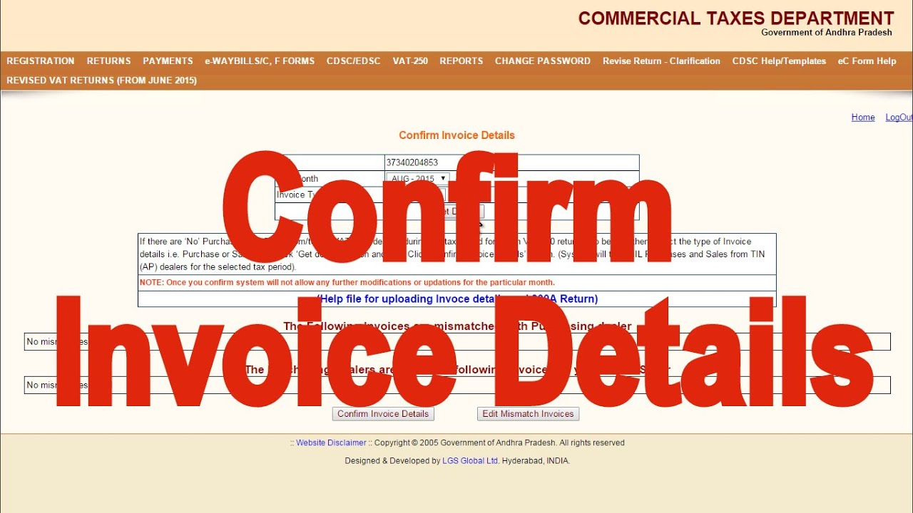 How To Confirm Invoices And Submit VAT A Form In AP Dealer Portal - Invoice submission meaning
